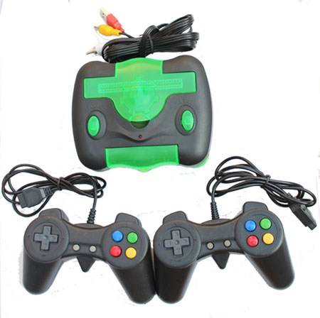 Retro video game system with Nintendo video games and two gamepads
